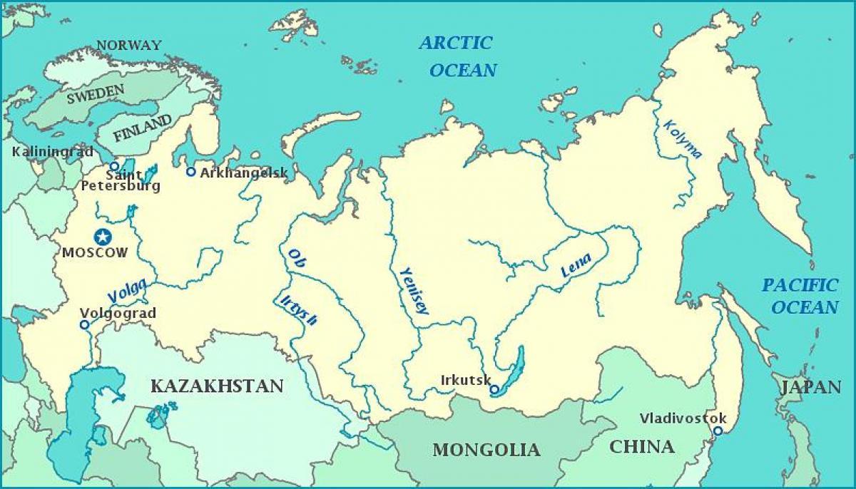 Reki Rossii Karta Rossii Reki Vostochnaya Evropa Evropa